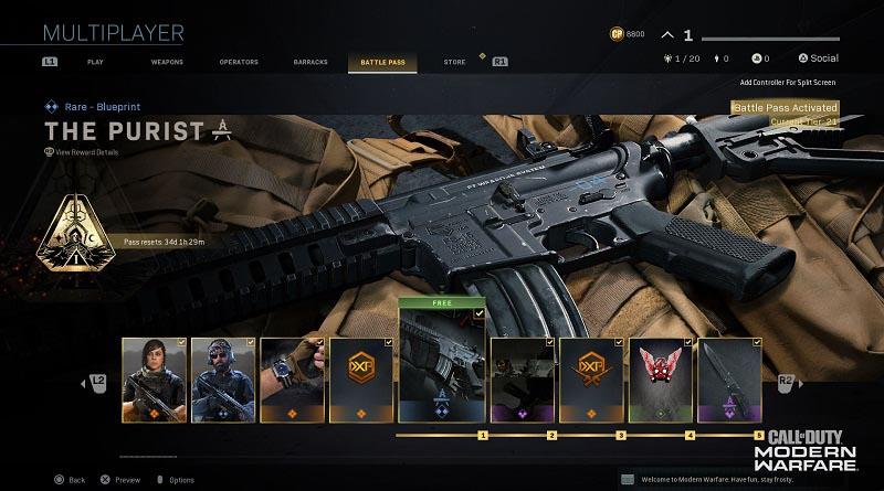 خرید بتل پس کالاف دیوتی | Modern Warfare 2019 Battle Pass